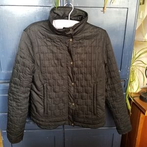 Black Quilted Zip Up Bomber Jacket Size M